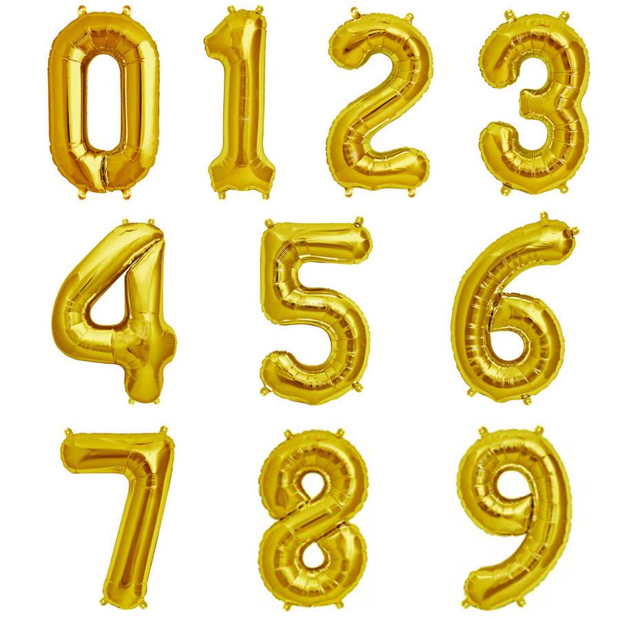 Balon Foliowy Cyfra 35cm Złoty WYBIERZ CYFRĘ