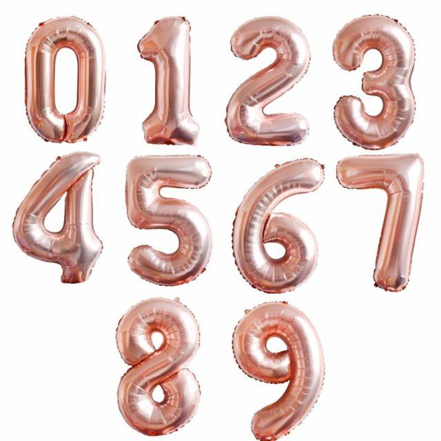 Balon Foliowy Cyfra 35cm Różowe Złoto WYBIERZ CYFRĘ